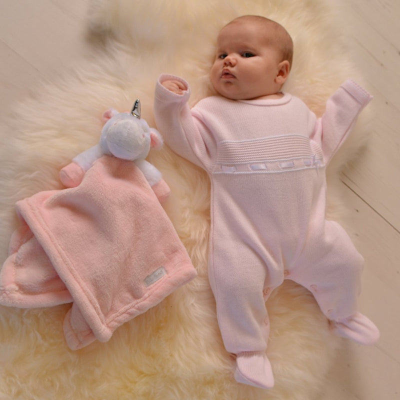 Girls Pink Knitted Onesie