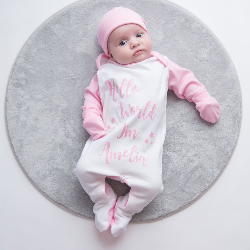 Personalised 'Hello World I'm...' Contrast Sleepsuit Set