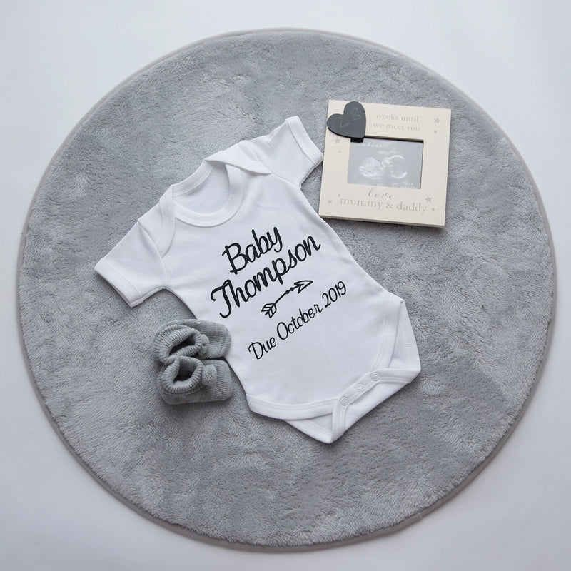 Personalised 'Baby... Due' Announcement Vest