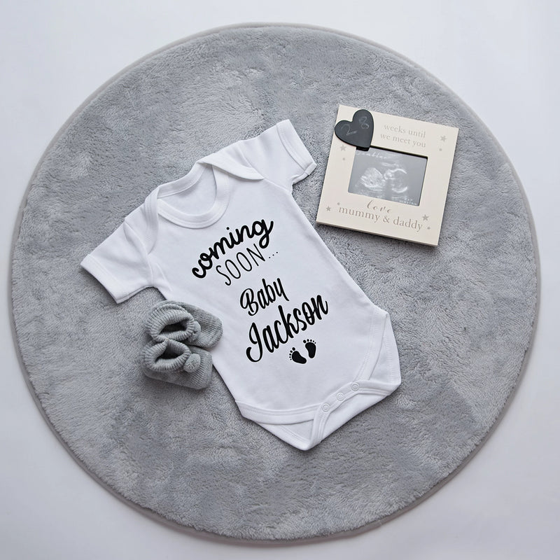 Personalised 'Coming Soon Baby...' Announcement Vest