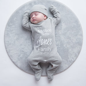 Personalised 'Latest Addition To The...Family' Sleepsuit Set
