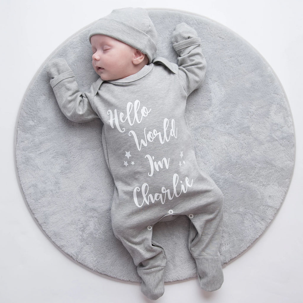 Personalised 'Hello World I'm...' Sleepsuit Set