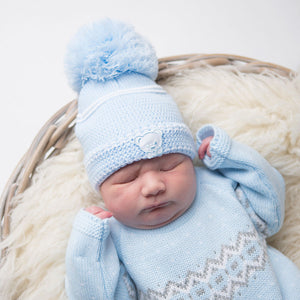 First Size Embroidered Teddy Hat - Blue