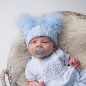 First Size Blue And White Ribbed Fur Double Pom Pom Hat