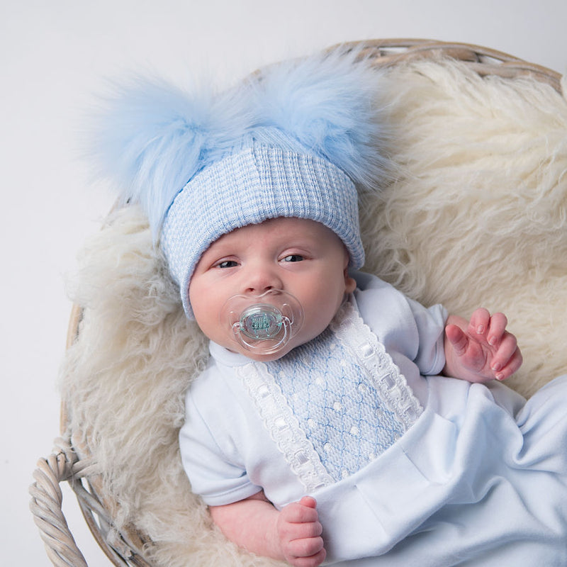 First Size Blue Ribbed Fur Double Pom Hat