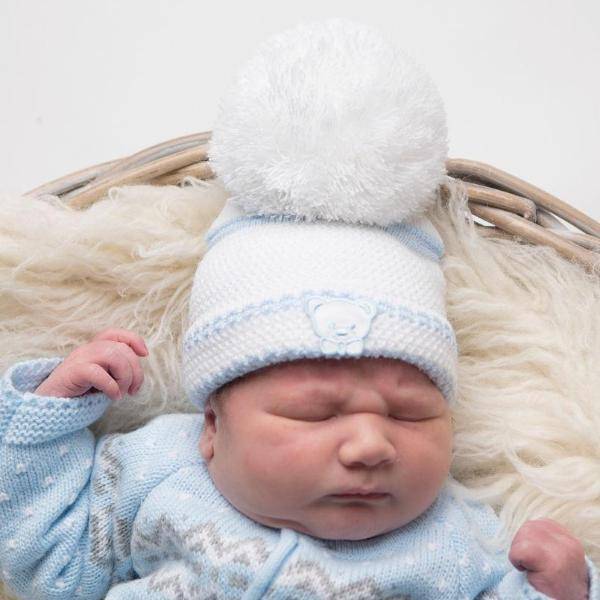 First Size Embroidered Teddy Hat - White & Blue