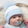 First Size Blue & White Ribbed Fur Pom Hat