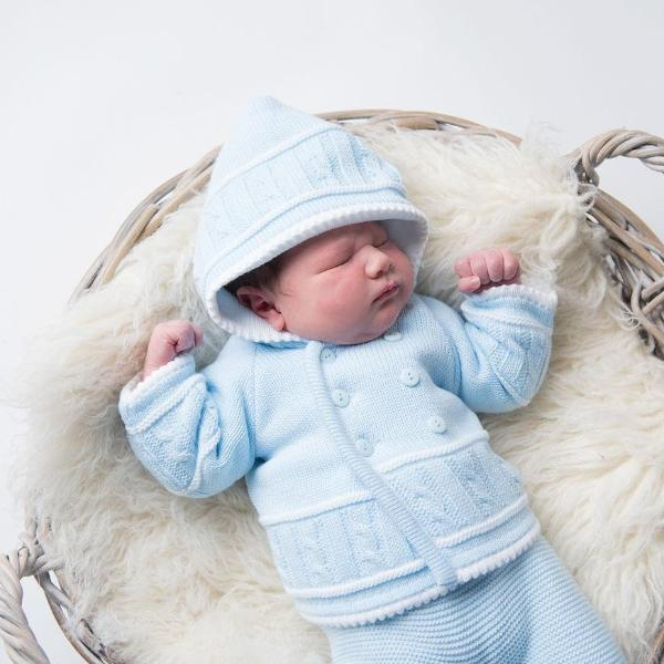 Boys Blue & White Knitted Jacket