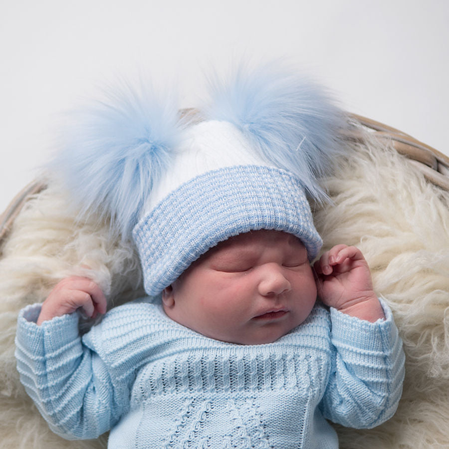 First Size White And Blue Ribbed Fur Double Pom Hat