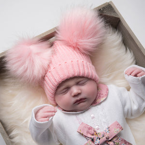 Double Faux Fur Pom Pom Hat  - Pink