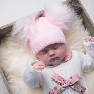 First Size Pink And White Ribbed Fur Double Pom Pom Hat