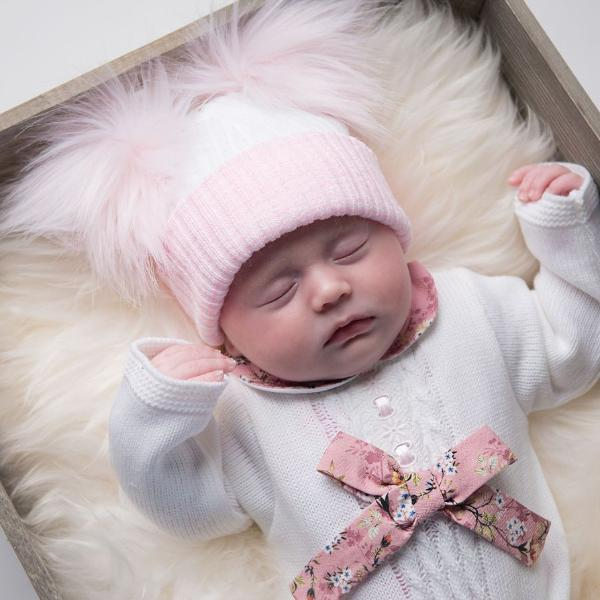 First Size White And Pink Ribbed Fur Double Pom Hat