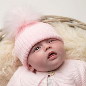 First Size Pink Ribbed Fur Pom Hat