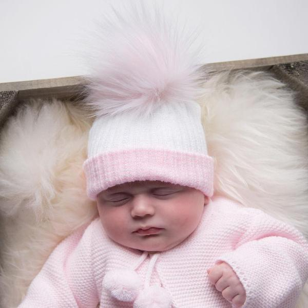 First Size White & Pink Ribbed Fur Pom Hat