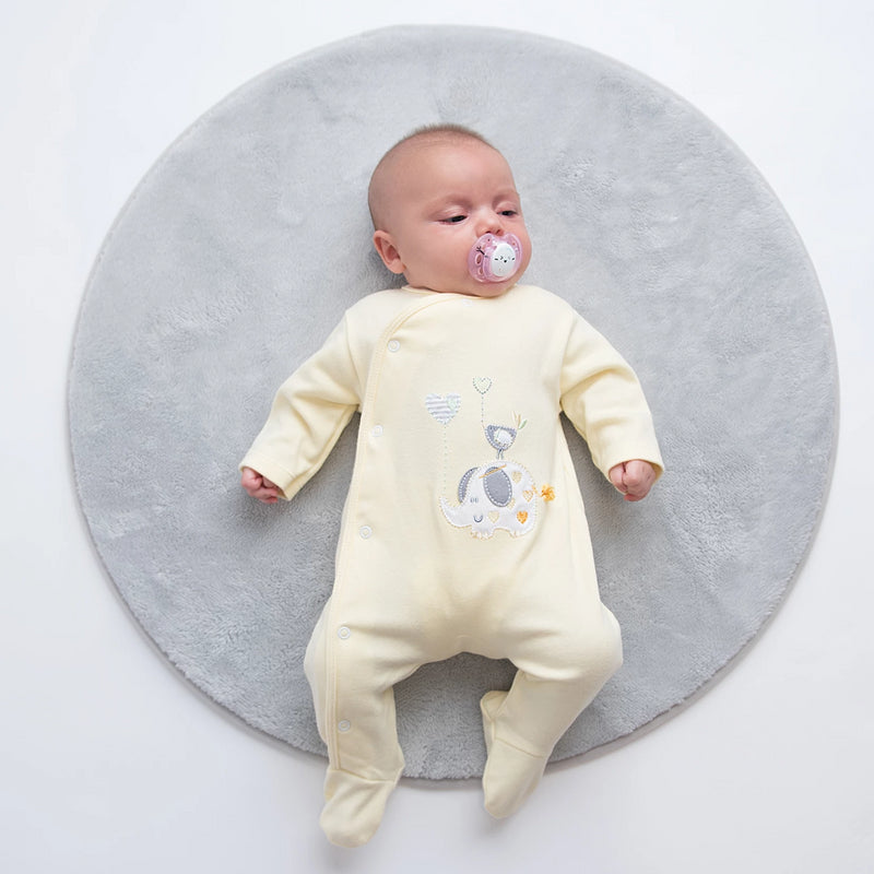 'Elephant & Bird' Lemon Cotton Sleepsuit