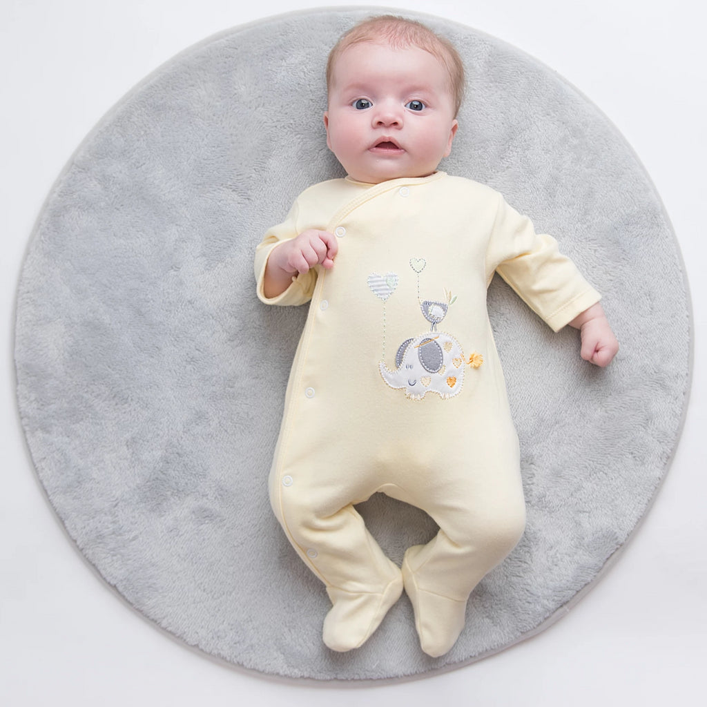 Unisex Lemon 'Elephant' Cotton Sleepsuit