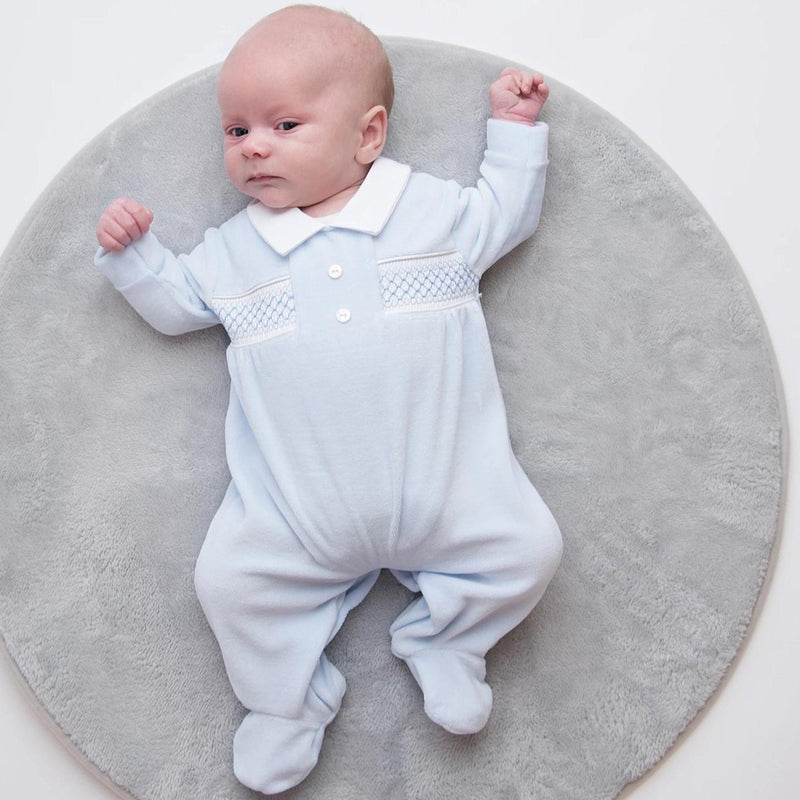 Boys Button Smocked Velour Sleepsuit