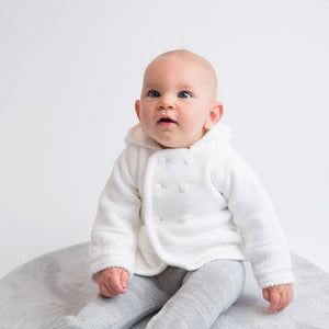 Unisex White Knitted Baby Jacket