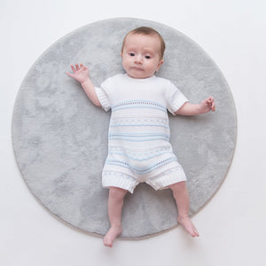 Boys Blue & White Knitted Pointelle Romper