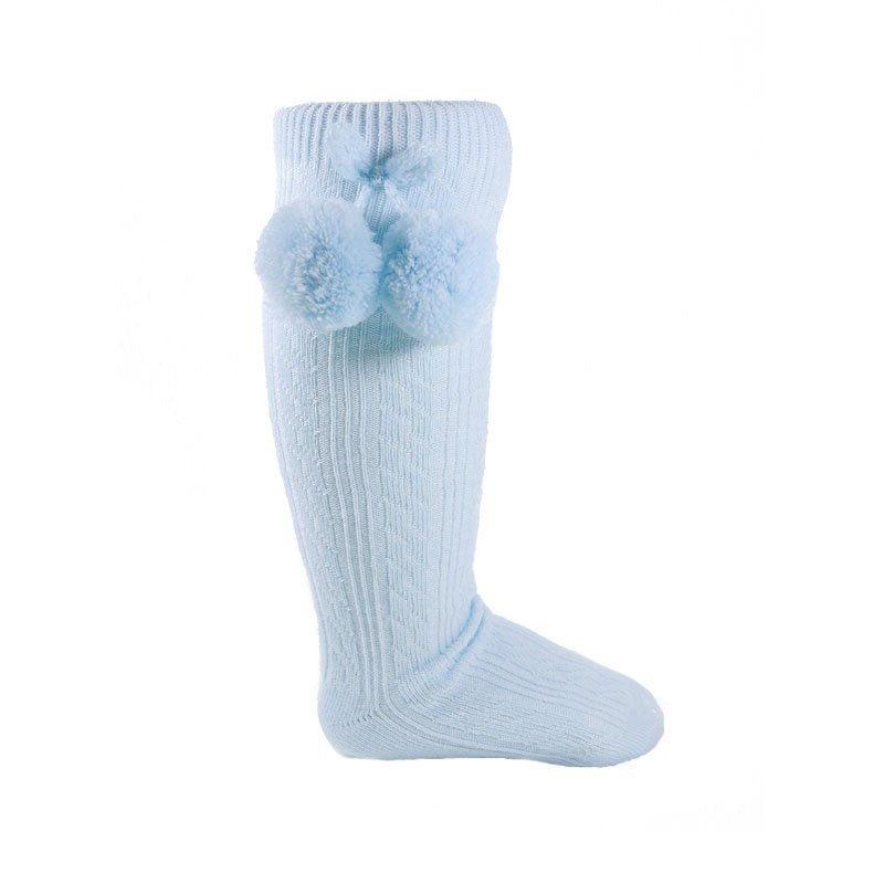 Knee High Pom Pom Socks - Blue