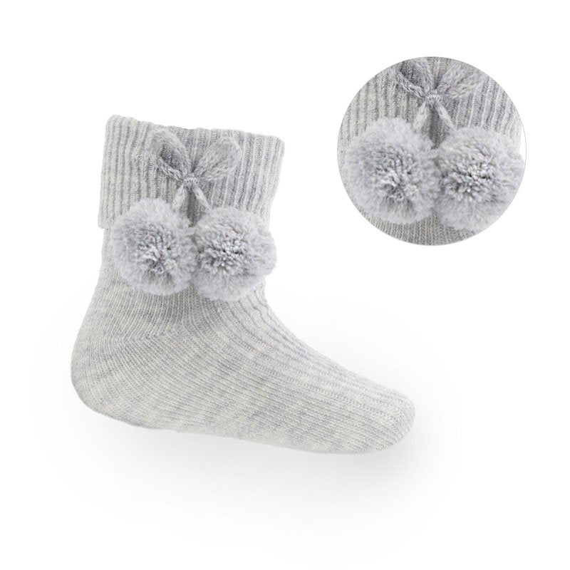 Infants Unisex Grey Pom Pom Socks