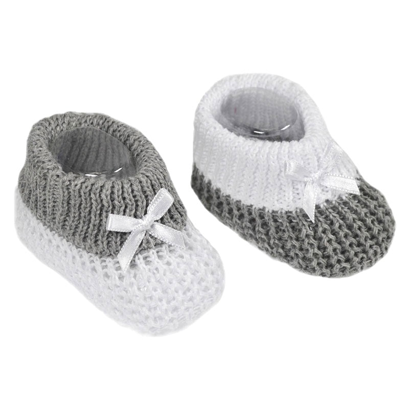 Grey Knitted Bow Booties