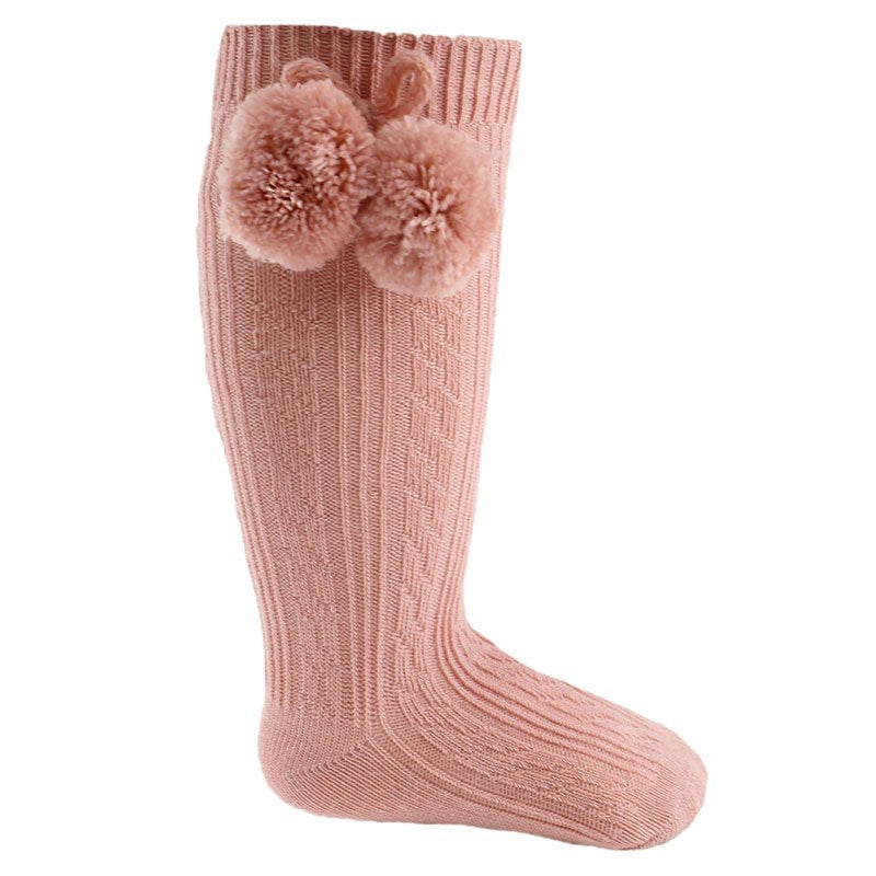 Knee High Pom Pom Socks - Rose Gold