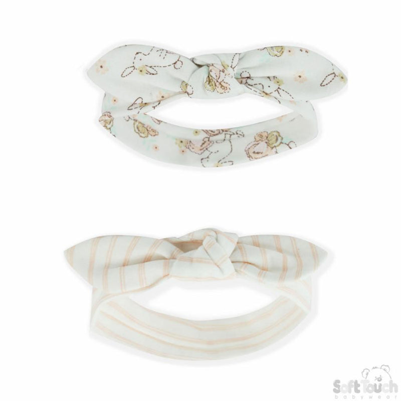 Bunny & Stripe 2 Pack Knotted Headband Set