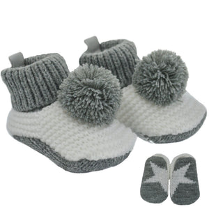 Grey Crochet Pom Pom Booties