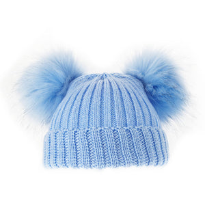 Blue Knitted Double Faux Fur Pom Pom Hat