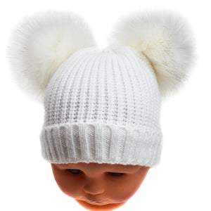 Double Faux Fur Pom Hat - White