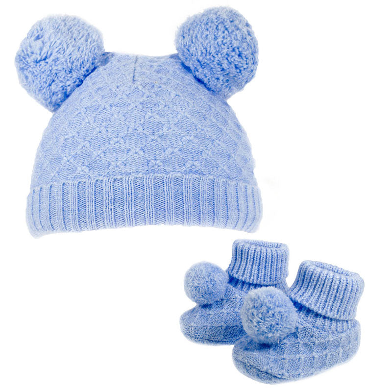 Blue Diamond Knit Pom Hat & Booties