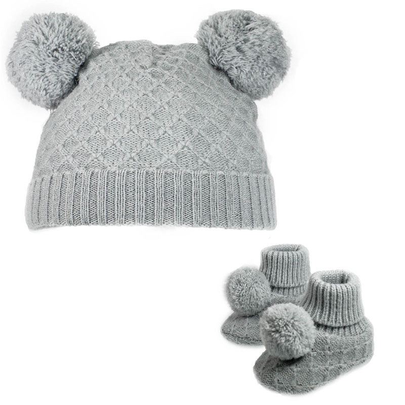 Grey Diamond Knit Pom Hat & Booties