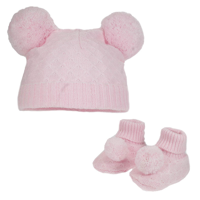Pink Diamond Knit Pom Hat & Booties