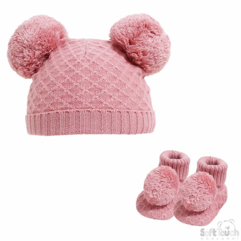 Rose Gold Diamond Knit Pom Hat & Booties