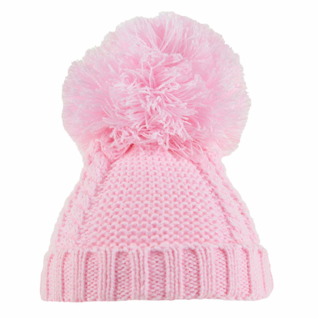Pink Cable Knit Pom Hat