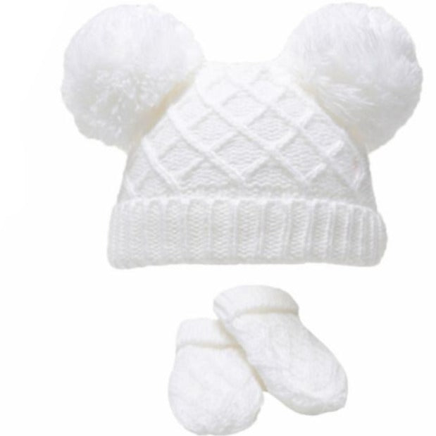 White Diamond Knitted Pom Hat & Mittens
