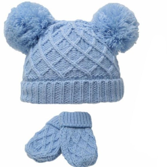 Blue Diamond Knitted Pom Hat & Mittens