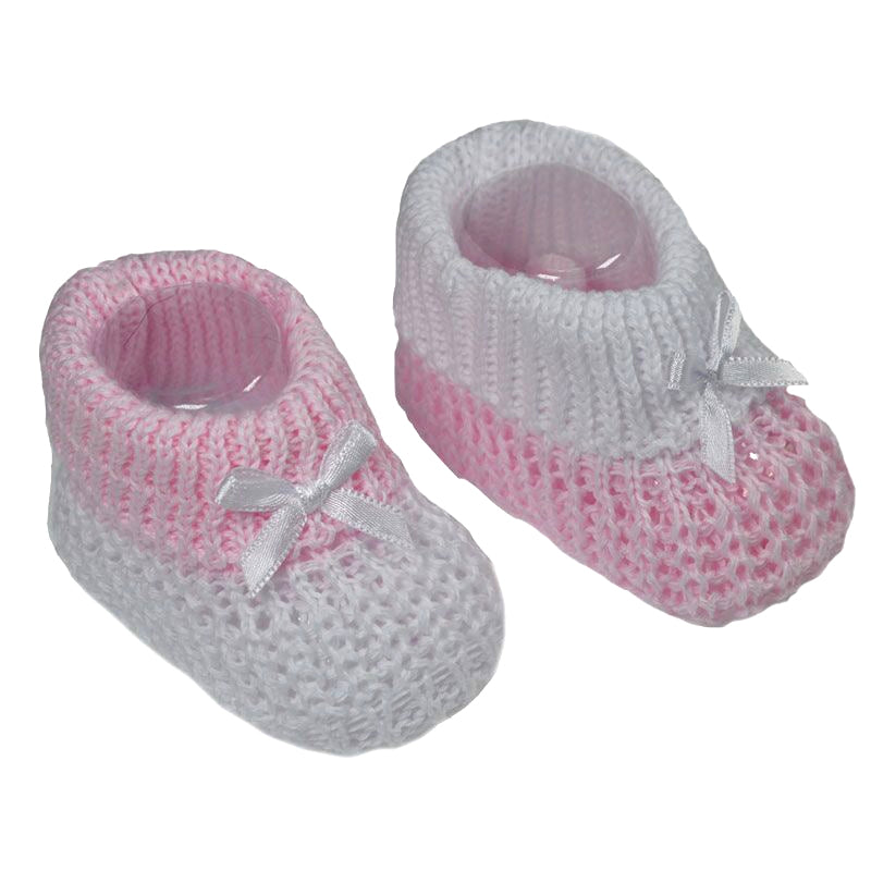 Pink Knitted Bow Booties