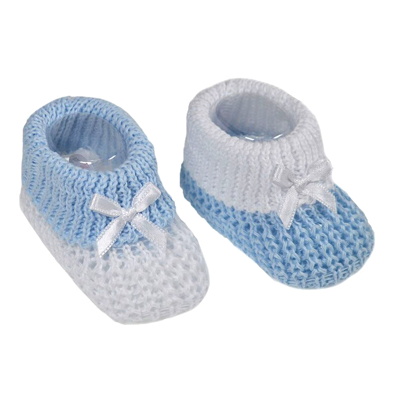 Blue Knitted Bow Booties