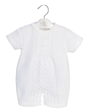 Unisex White Cable Knitted Romper