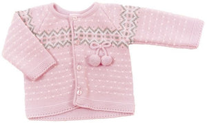 Pink & Grey Fairisle Cardigan