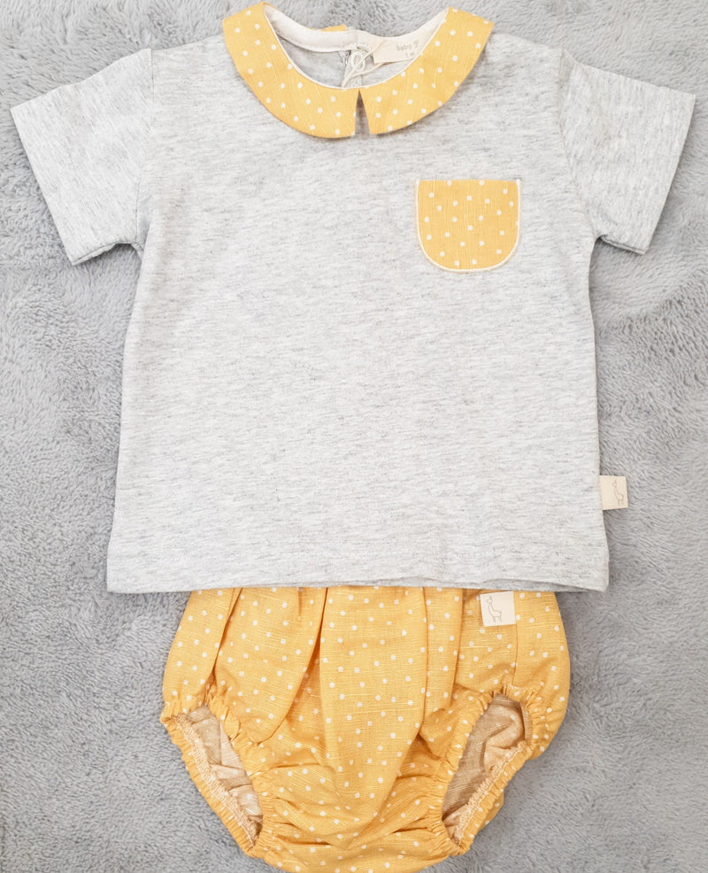 Mustard & Grey Spot Top and Bloomer Set