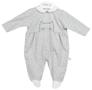 Grey Cat Peepo Babygrow