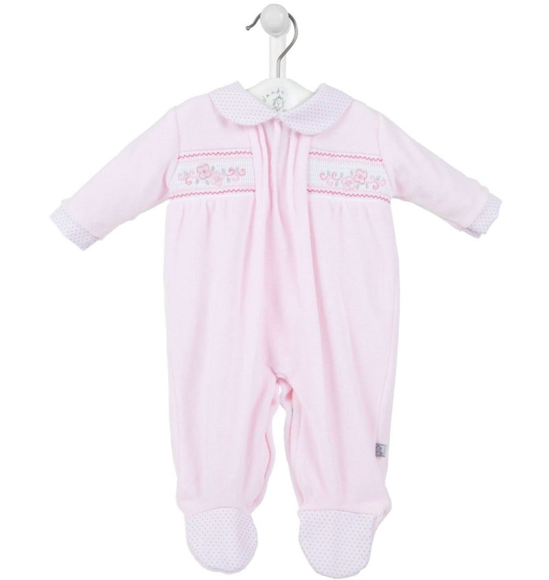 Pink Velour 'Pretty Flowers' Smocked Sleepsuit