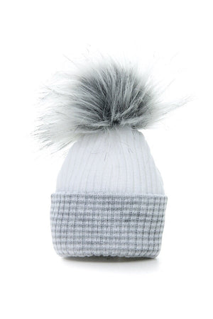 First Size Grey Ribbed Fur Pom Hat