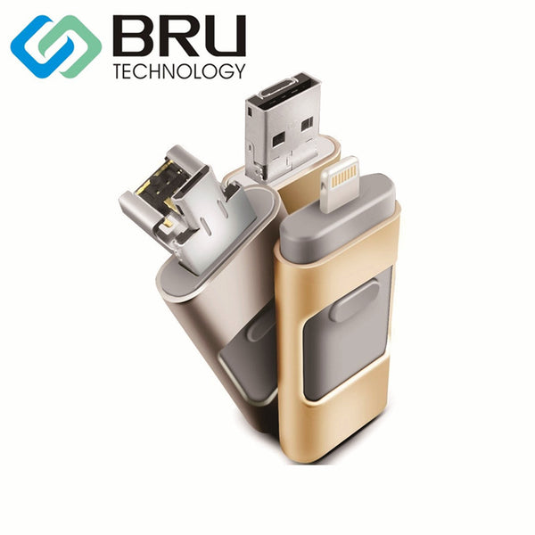 BRU USB Flash Drive 8GB For iPhone iPad iPod iOS Android Storage Multi-Functional 3 in 1 PenDrive OEM gift Custom Logo