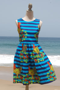 Dress, Africain wax, Blue fluo