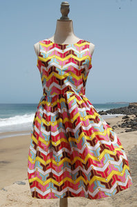 Dress, Africain wax, Yellow geometrique