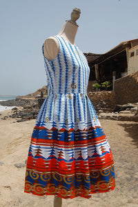 Dress, Africain wax, White, blue and orange wave